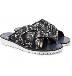 Dolce & Gabbana - Woven Printed Full-Grain Leather Slides