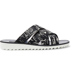 Dolce & Gabbana Woven Printed Full-Grain Leather Slides