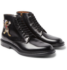 Gucci + Disney Appliquéd Polished-Leather Boots