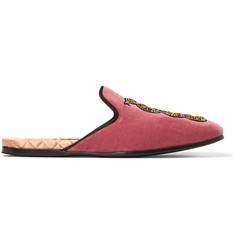 Gucci Embellished Velvet Backless Loafers