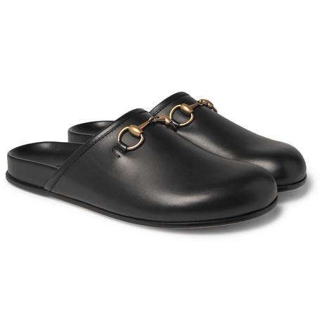 gucci male gucci horsebit leather sandals black