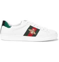 Gucci Embroidered Watersnake-Trimmed Leather Sneakers