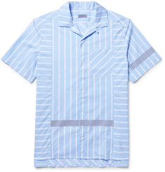 Lanvin Camp-Collar Reflective-Trimmed Striped Cotton-Poplin Shirt