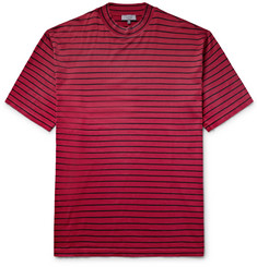 Lanvin Striped Cotton-Jersey Mock-Neck T-Shirt