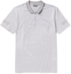 Lanvin Slim-Fit Metallic-Trimmed Cotton-Piqué Polo Shirt