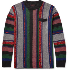 Sacai Striped Jacquard-Knit Cotton-Blend Sweater