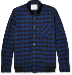 Sacai Velvet-Trimmed Buffalo-Checked Cotton Overshirt