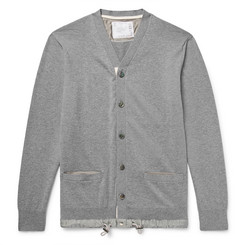 Sacai Slim-Fit Shell-Trimmed Cotton and Cashmere-Blend Cardigan
