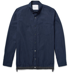 Sacai Slim-Fit Shell-Trimmed Cotton-Blend Poplin Overshirt