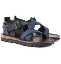 Sacai - + Hender Scheme Leather and Nubuck Sandals