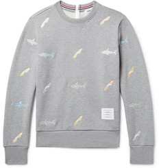 Thom Browne Shark-Embroidered Loopback Cotton-Jersey Zip-Up Sweatshirt