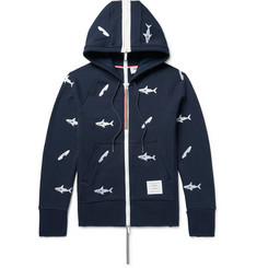 Thom Browne Shark-Embroidered Loopback Cotton-Jersey Zip-Up Hoodie