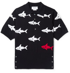 Thom Browne Shark-Intarsia Knitted Cotton Polo Shirt