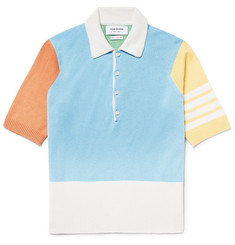 Thom Browne Colour-Block Cashmere Polo Shirt