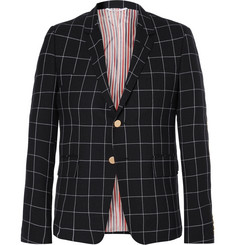 Thom Browne Blue Windowpane-Checked Wool Blazer