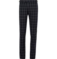 Thom Browne Blue Slim-Fit Windowpane-Checked Wool Trousers