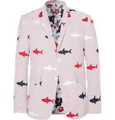Thom Browne Shark-Embroidered Striped Cotton-Seersucker Blazer