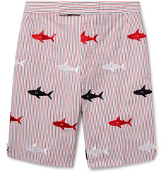Thom Browne - Shark-Embroidered Striped Cotton-Seersucker Shorts