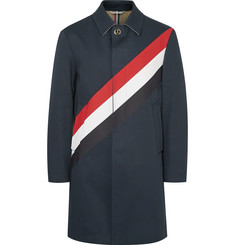 Thom Browne Striped Cotton-Gabardine Raincoat