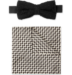 Marwood - Cotton-Lace and Silk Bow Tie and Pocket Square Set