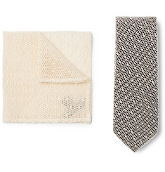 Marwood Cotton-Lace and Silk-Twill Tie and Pocket Square Set