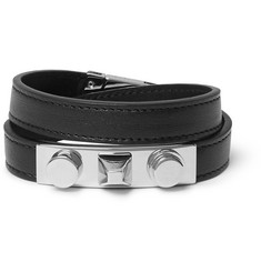 Saint Laurent Leather Silver-Tone Wrap Bracelet