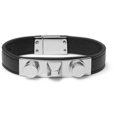 Saint Laurent Leather Silver-Tone Bracelet