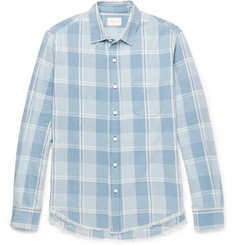 Simon Miller Slim-Fit Frayed Checked Cotton-Twill Shirt