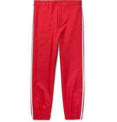 Gucci Slim-Fit Cropped Embroidered Grosgrain-Trimmed Twill Trousers