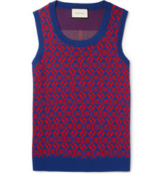 Gucci Jacquard-Knit Wool and Cotton-Blend Sweater Vest