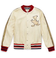 Gucci + Disney Embroidered Textured-Leather Bomber Jacket