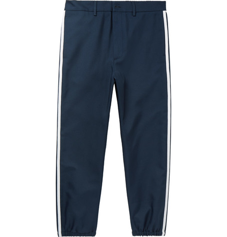 gucci male gucci slimfit cropped grosgraintrimmed twill trousers navy