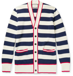 Gucci Embroidered Striped Cotton Cardigan