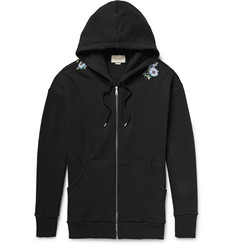 Gucci Embroidered Loopback Cotton-Jersey Zip-Up Hoodie