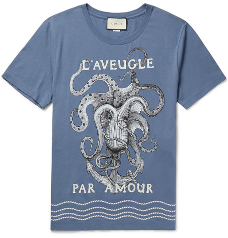 50a78f9f9 Gucci Embroidered Octopus-Print Cotton-Jersey T-Shirt In Blue ...