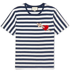 Gucci Appliquéd Striped Cotton-Jersey T-Shirt