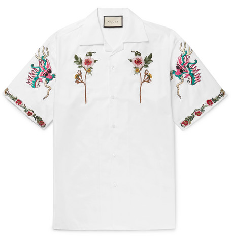 gucci male gucci campcollar embroidered cotton oxford shirt white