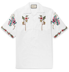 Gucci Camp-Collar Embroidered Cotton Oxford Shirt