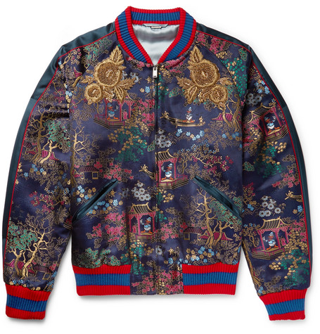 gucci male gucci embroidered jacquard bomber jacket navy