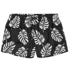 Dolce & Gabbana Slim-Fit Mid-Length Leaf-Print Swim Shorts