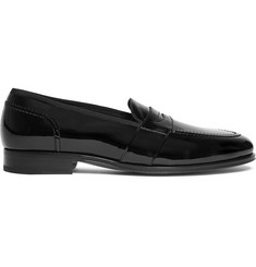 TOM FORD Taylor Grosgrain-Trimmed Patent-Leather Penny Loafers