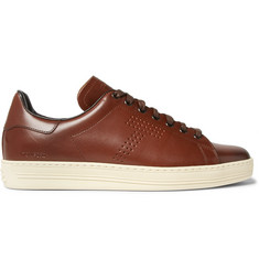 TOM FORD Warwick Perforated Burnished-Leather Sneakers