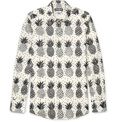 Dolce & Gabbana Slim-Fit Pineapple-Print Cotton-Poplin Shirt