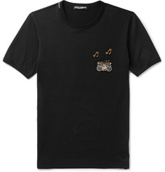 Dolce & Gabbana - Slim-Fit Embellished Cotton-Jersey T-Shirt