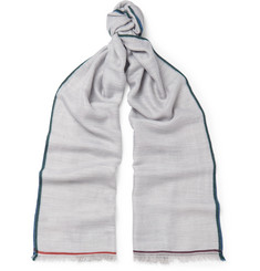 Loro Piana Contrast-Trimmed Cashmere, Silk and Hemp-Blend Scarf