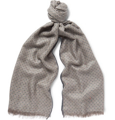 Loro Piana Polka-Dot Herringbone Cashmere and Silk-Blend Scarf