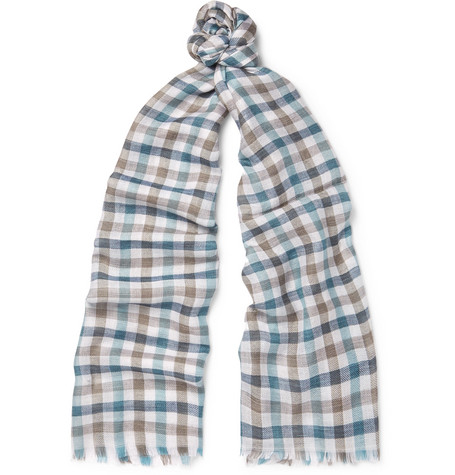 Loro Piana Fringed Checked Cashmere And Silk-Blend Scarf In Blue