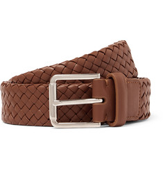 Loro Piana 3cm Brown Woven Leather Belt
