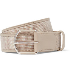 Loro Piana - 3.5cm Grey Leather-Trimmed Linen Belt