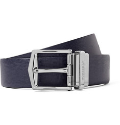 Burberry - 3.5cm Blue and Black Reversible Cross-Grain Leather Belt